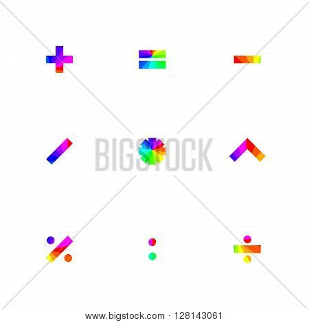 Rainbow symbols of mathematical operations with square corners vector illustration.