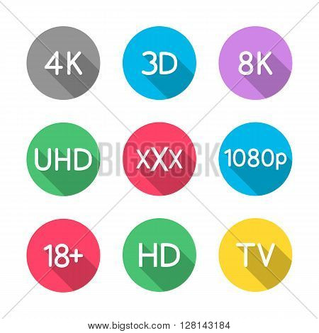 Set the video icons with a long diagonal shadow vector illustration.