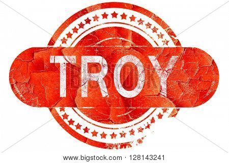 troy, vintage old stamp with rough lines and edges