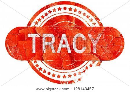 tracy, vintage old stamp with rough lines and edges