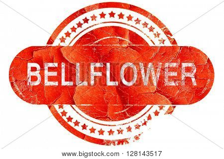 bellflower, vintage old stamp with rough lines and edges
