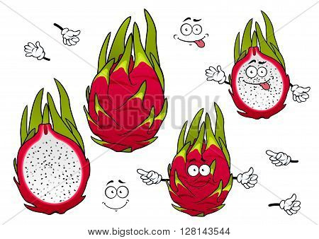 Whole and halved exotic pitaya fruits cartoon characters with vivid magenta peel, covered green spiky leaves with joyful smiling faces. Tropical cocktail menu, agriculture, vegetarian recipe design usage