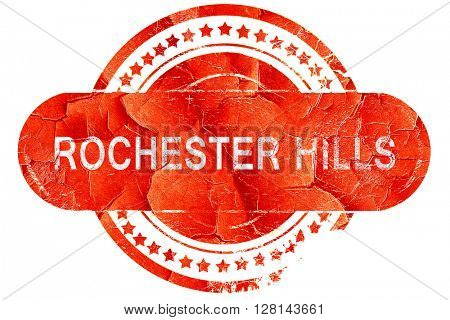 rochester hills, vintage old stamp with rough lines and edges