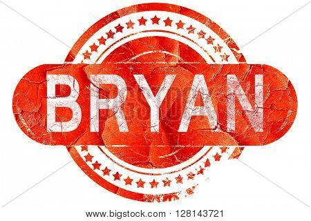 bryan, vintage old stamp with rough lines and edges