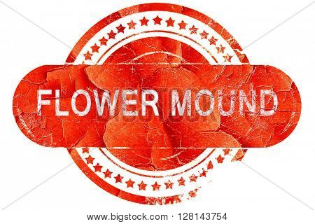 flower mound, vintage old stamp with rough lines and edges