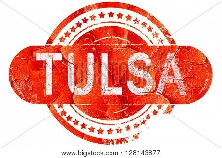 tulsa, vintage old stamp with rough lines and edges