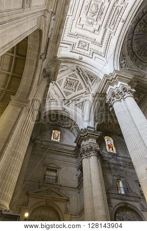 Jaen, Spain - may 2016, 2: Detail of vault center of the main nave that covers the choir in the Cathedral of Jaen, works of Andres de Vandelvira, influence that he exercised in many churches built in America, take in Jaen, Spain