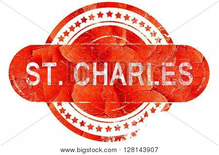 st. charles, vintage old stamp with rough lines and edges