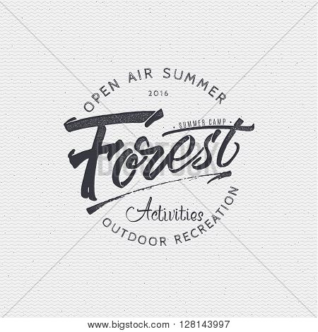 Forest Activities sign handmade differences, made using calligraphy and lettering using geometric elements ways and assembled in the badge using typographic rules