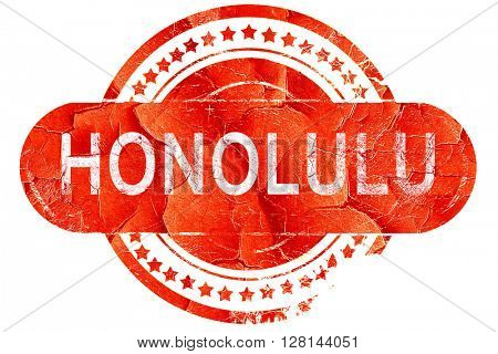 honolulu, vintage old stamp with rough lines and edges