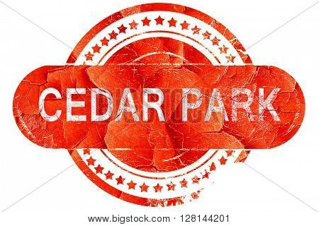 cedar park, vintage old stamp with rough lines and edges