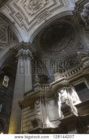 JAEN SPAIN - may 2016 2: Inside view of the Cathedral in Jaen also called Assumption of the Virgin Cathedral Masterpiece of Andres de Vandelvira In its interior is custody among other works of art and religious objects the relic of the Holy Face or