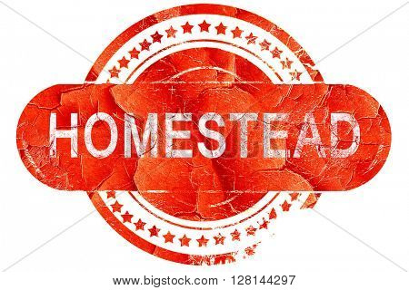 homestead, vintage old stamp with rough lines and edges