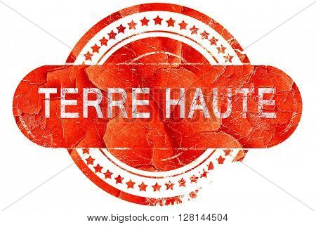 terre haut, vintage old stamp with rough lines and edges