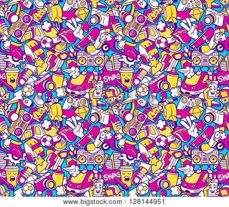 Graffiti seamless pattern with urban lifestyle line icons. Crazy doodle seamless abstract background. Trendy linear style graffiti collage with bizzare street art elements. Vector seamless pattern