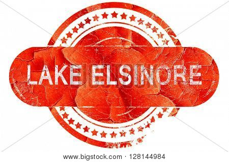lake elsinore, vintage old stamp with rough lines and edges