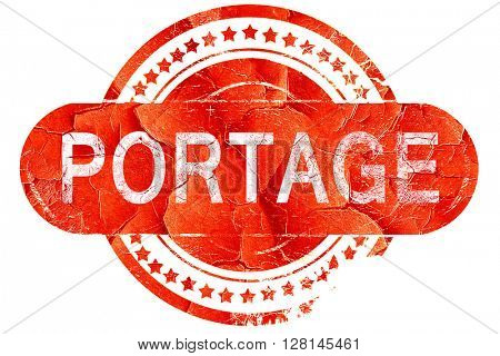 portage, vintage old stamp with rough lines and edges