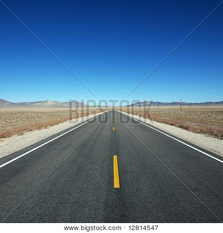 Strip of highway stretching towards horizon under clear blue sky.