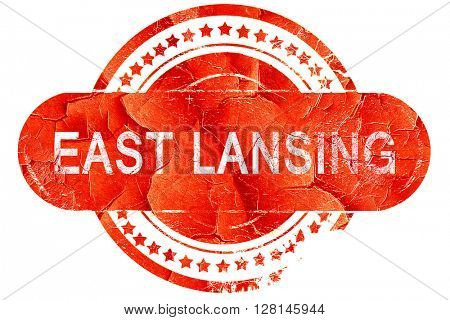 east lansing, vintage old stamp with rough lines and edges