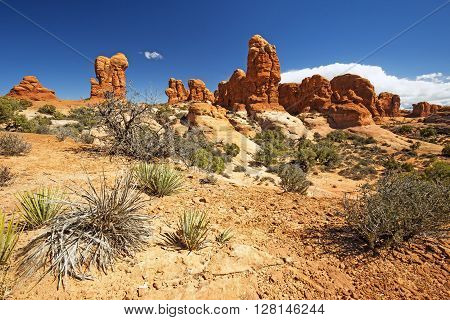 sandstone orange boulders in an arid terrain