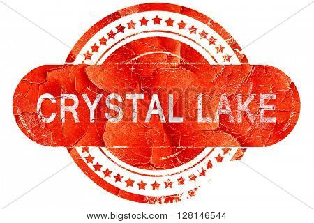 crystal lake, vintage old stamp with rough lines and edges