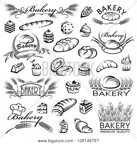 monochrome collection of bread and bakery products