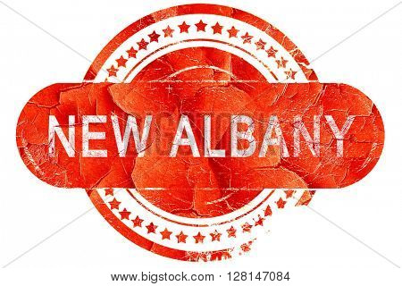 new albany, vintage old stamp with rough lines and edges