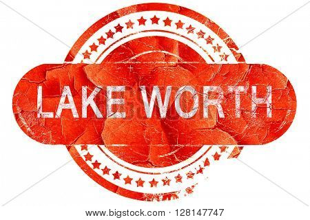 lake worth, vintage old stamp with rough lines and edges