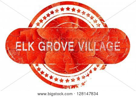 elk grove village, vintage old stamp with rough lines and edges