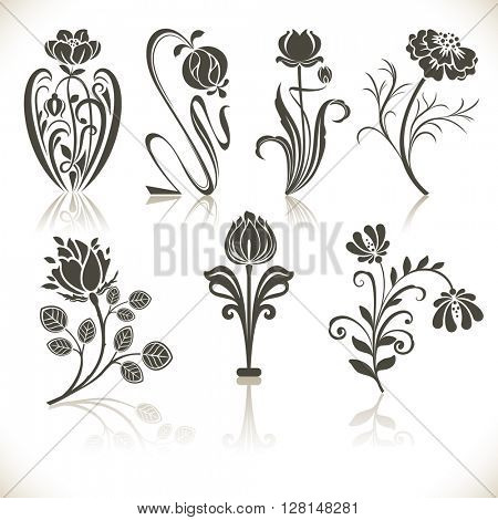 Flower shapes vector set isolated on white background.