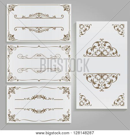 Cards with floral frames and copy space vector template.