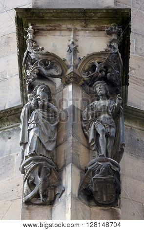 TUBINGEN, GERMANY - OCTOBER 21: Saint Barbara and Saint John the Baptist, Collegiate Church of St. George in Tubingen, Germany on October 21, 2014.