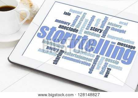 storytelling word cloud on a digital tablet with a cup of espresso coffee