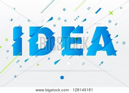 Abstract Business Typographic Vector Illustration. Idea Concept. Liquid Letters.