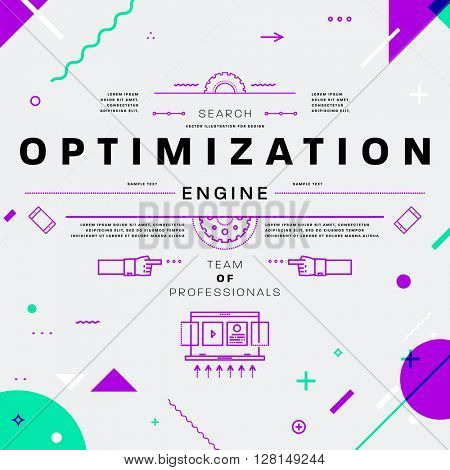 Search Engine Optimization, SEO Typographic Label Concept. Thin Line Flat Style for Business Logo, Posters, Placards, Presentations and Websites Design