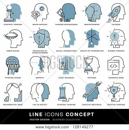 Thin Line Icons Set. Brain, Mind and Emotions for Websites, Banners, Infographic Illustrations. Simple Linear Pictograms Collection. Logo Concept for Trendy Designs. Flat Pictogram Pack