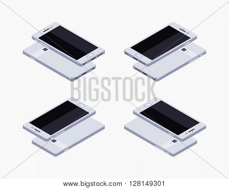 Set of the lying isometric generic white smartphones. The objects are isolated against the white background and shown from different sides
