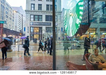 CHICAGO, IL - CIRCA MARCH, 2016: logo of Starbucks Cafe. Starbucks Corporation is an American global coffee company and coffeehouse chain based in Seattle, Washington