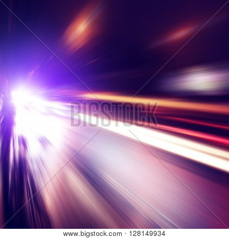 Abstract image of traffic lights in the city.Motion blur.