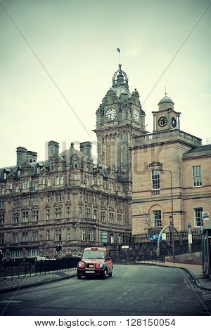 Edinburgh city street view in United Kingdom.