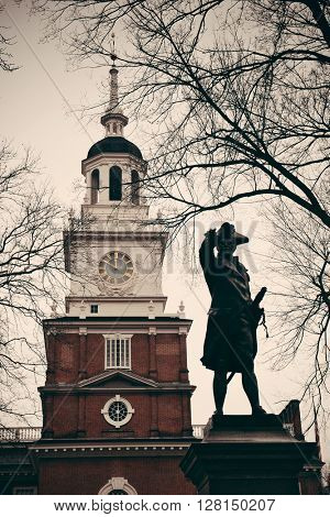 John Barry statue and Independence Hall as the historical Landmark in Philadelphia