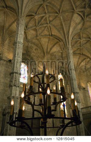 Interior of Mosteiro dos Jeronimos in Lisbon, Portugal.