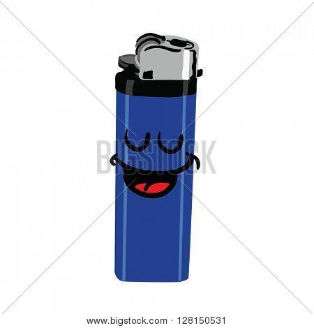 happy cigarette lighter cartoon illustration
