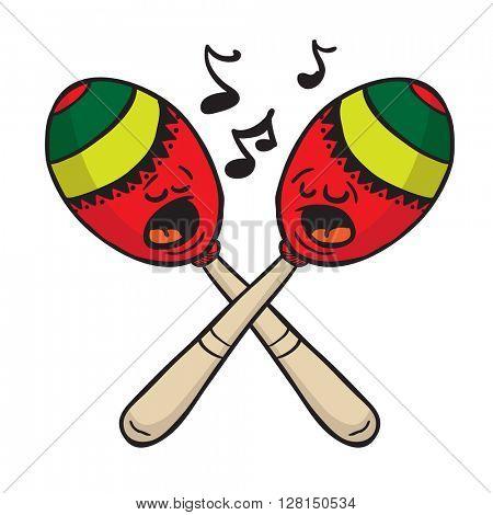 maracas singing cartoon illustration
