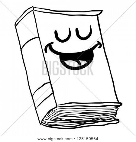 black and white happy old book cartoon illustration isolated on white