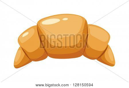 Croissant vector food isolated on white background.