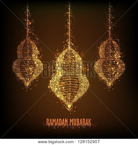 Beautiful Golden Lamps hanging on shiny brown background for Holy Month of Muslim Community, Ramadan Mubarak celebration.