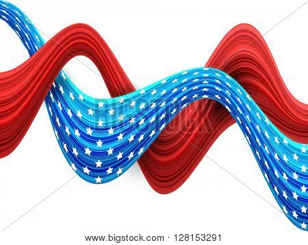 Glossy 3D asbtract waves in American Flag Colors for 4th of July, Independence Day celebration.