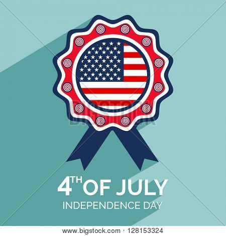 Creative Badge in American Flag colors for 4th of July, Independence Day celebration.