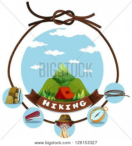 Travel theme with hiking in mountain illustration